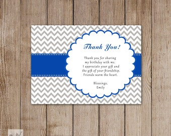 Chevron Blue Birthday Thank You Card - Printable Personalized Party Thank You Note Card Custom DIY Birthday Party Items