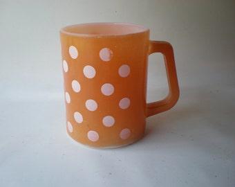 Vintage Orange Polka Dot Mug or Cup