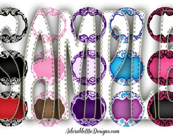 Editable Damask Digital Bottle Cap Set