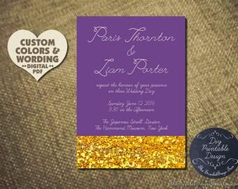 KISSED BY GOLD Elegant Wedding Invitation Custom Color Wording Diy Wedding Engagement Party Bridal Shower Baby Bachelorette Hens Night 2016