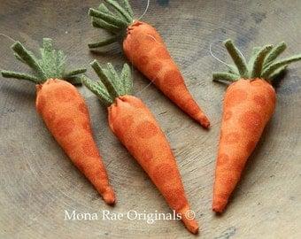 "4 Hanging Carrot Ornaments ~ 4 1/2"" Long ~ Reindeer Food ~ Bunny Food"