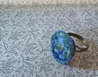 Boho felt ring. Felted accessories. Blue forest