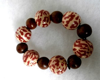 Olive Wood Beaded Bracelet Adjustable