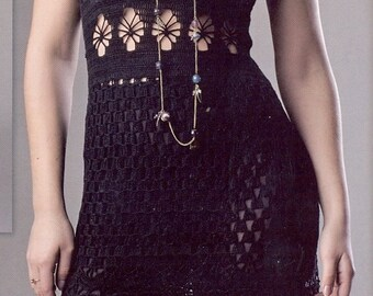 Crocheted Lace Dress W/ Square Neck - Made to Order - free shipping in USA