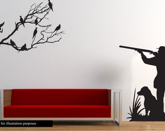 Dove Hunting Wall Decal- Large Hunter and dog dove hunting- Boy Girl Nursery Baby, Hunting decal, Kids Room Decal, Bedroom, Living, man cave