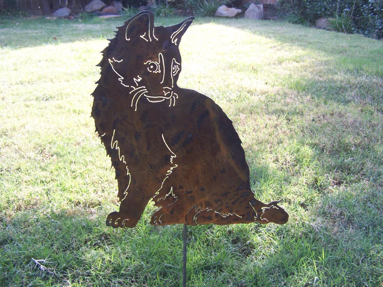 Cat garden stake metal garden sculpture makes a wonderful gift for Cat yard art