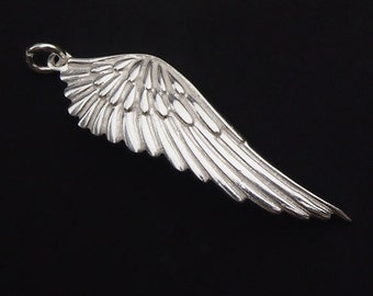1 of 925 Sterling Silver Angel Wing Pendant  11.5x39mm. :th1741