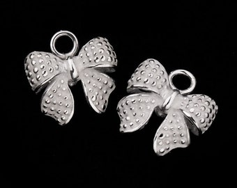 2 of 925 Sterling Silver Bow Charms  10x11 mm. :th1553