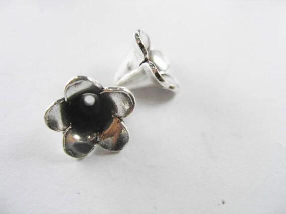 2 of Karen Hill Tribe Silver Flower Bead Caps 12x9.5 mm. :ka2048