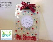 Personalized clear acrylic clipboard, with name and sport, volleyball, basketball, football, gymnastics, or any sport, coach gift