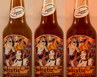 any cayenne based 10oz bottle hot sauce.  Sadistic Mistress Sauces