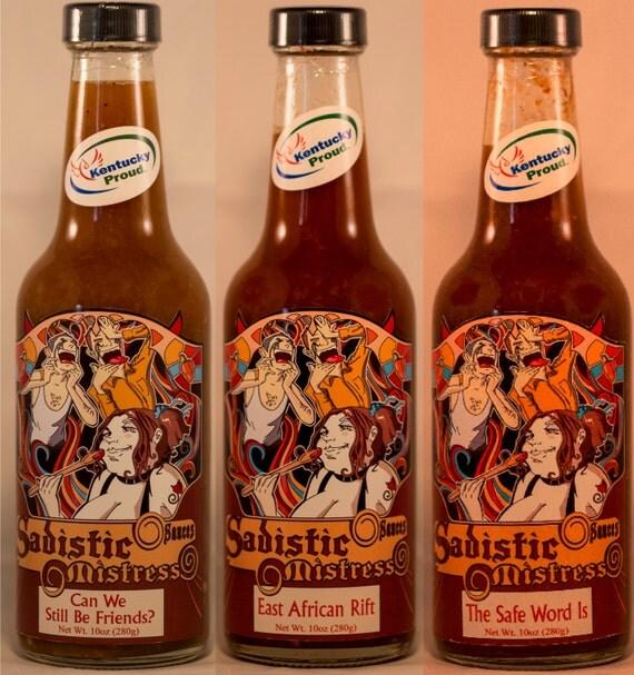 any cayenne based 10oz bottle hot sauce.  Sadistic Mistress Sauces