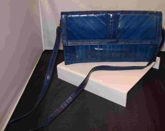 Electric Blue Eel skin Convertible Handbag Clutch Purse