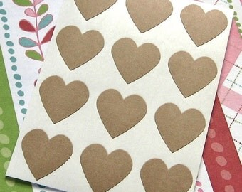 108 Heart Sticker Seals Kraft 3/4 inch