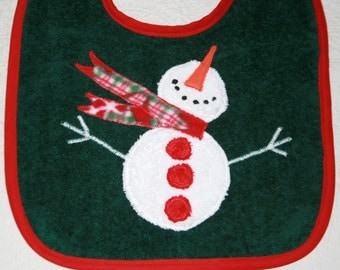 Snowman Baby Bib for Baby Girl or Baby Boy on a Green Bib or Red Bib or Royal Bib