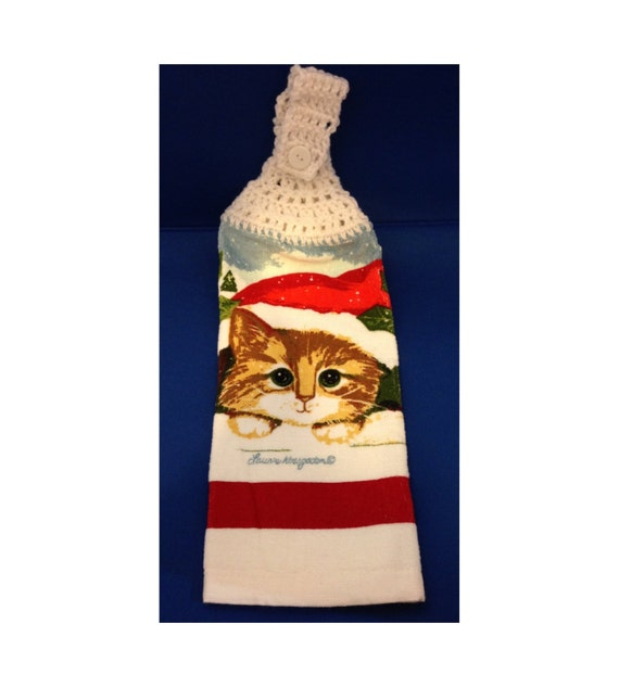 Cat Themed Kitchen Towels: Hanging Hand Towel Tea Towel Christmas Cat-Themed Towel With