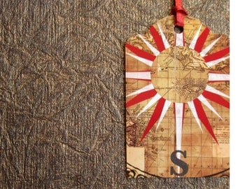 Up-Cycled Compass Gift Tag Set of 3