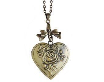 Get 15% OFF - Antique Bronze Ribbon Bow Tie, Heart Shaped Locket, Rose Locket Picture Locket Bronze Necklace - Happy Mother's Day SALE 2016