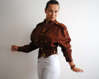 Vintage Leather Jacket 1980s Brown Tailored Spring Jacket Waist Size XS/S