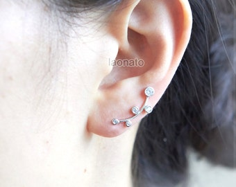 Round Crystal Bezel ear climber  / choose your color / gold and silver