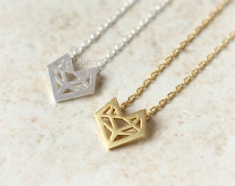 N02 Origami Fox Necklace / choose your color, gold and silver