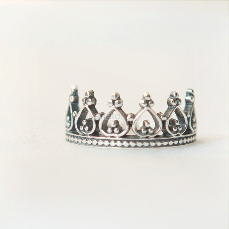 princess ring crown ring sterling silver by laonato on etsy