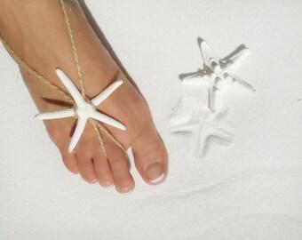 Starfish Barefoot sandals, handmade beach wedding sandles, anklet, foot jewelry