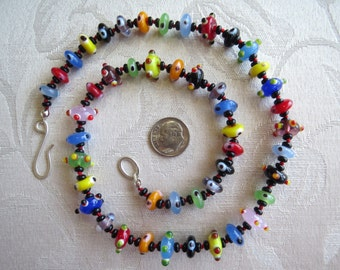 Colorful Flamework Glass Bead Necklace Hand Knotted 21 Inches