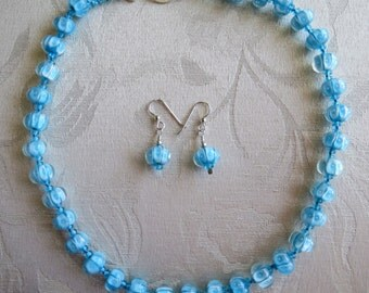 Lampwork Aqua Blue Glass Bubble Beads Necklace & Earrings