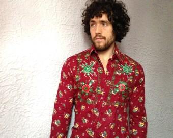 60's Vintage Men's Embroidered Hippie Shirt original rare medium
