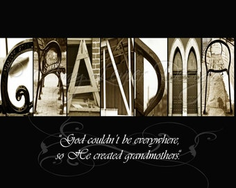 GRANDMA - Alphabet letter photos with quote (various sizes)