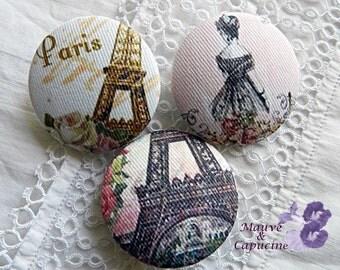 3 fabric buttons, Paris retro 2