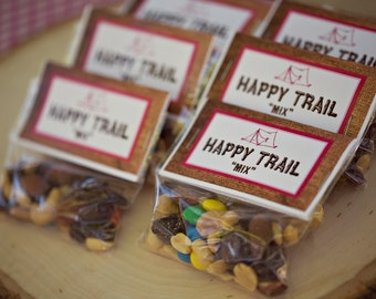 "Printable Camping Party ""HAPPY TRAILS"" mix Favor Bag Tent Card"