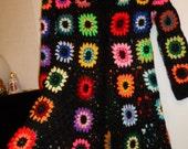 Crochet hippie boho bohemian 1960-s black kaleidoscope coat cardigan with multicolour flowers OOAK