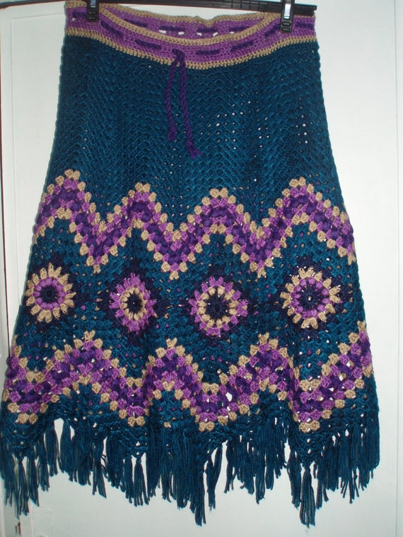 Crochet 1960-s hippie style bohemian teal purple beige multicolour granny square puff stitch flowers womens girls  skirt with fringe OOAK