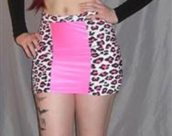 Pink leopard spandex  skirt