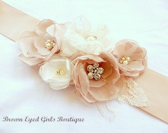 Blush, Champagne and Ivory Lace Bridal Sash, Blush Wedding Sash, Blush Wedding Belt