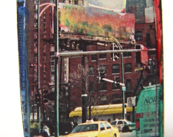 Original ART Photo Mixed Media Construction of CHICAGO and Taxi ~ City Scene & Die Cast Chicago Taxi Vehicle
