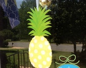 Wooden Hand Painted Southern Pineapple Door Decor Wall Hanging Free Monogram or Personalization