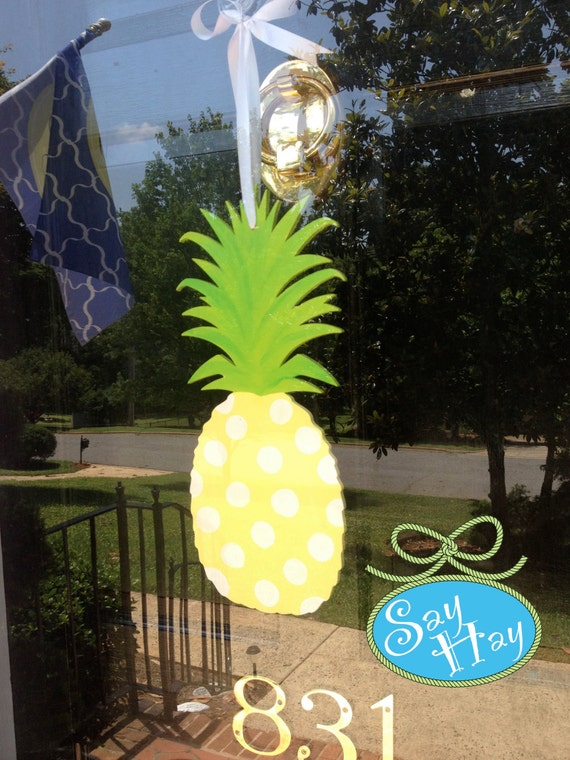 items similar to wooden hand painted southern pineapple door decor wall hanging free monogram or