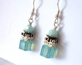 Mint aqua crystal earrings, cube beads, Austrian crystal, Sterling Silver, rhinestone beads, ornate details, aqua mint bead crystal jewelry