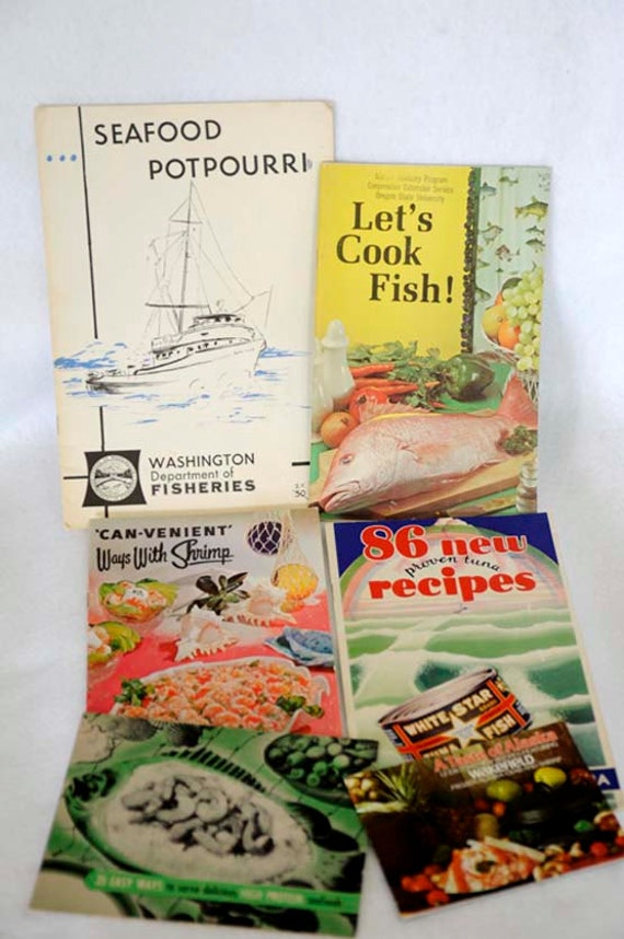 Lot Of 6 Vintage 1950's-70s Cook Booklets.. Cooking Seafood.. Crab, Shrimp, Tuna, Fish Recipes & Prep..  FREE SHIPPING