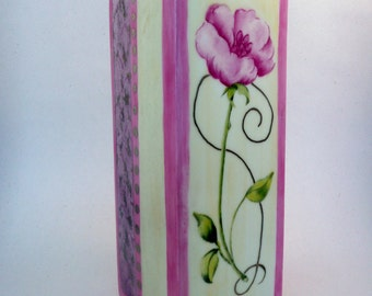 hand painted vase,  porcelain vase, pink and purple vase, square bud vase