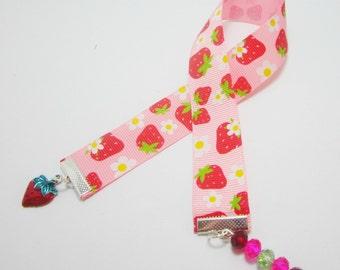 Strawberry Ribbon Bookmark Hand Painted Strawberry Charm Swarovski Rondelles ON SALE!! 119B