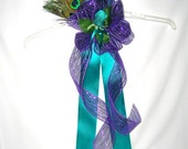 Peacock Wedding Pew Bow, Decoration, Reception Chair Bow