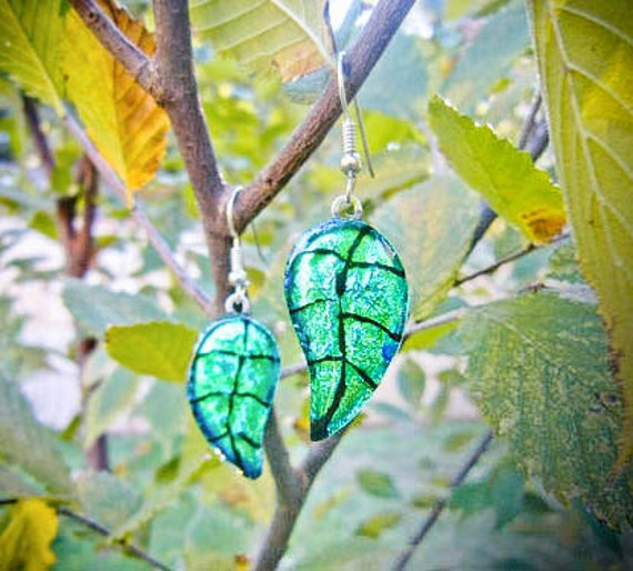 Hand Etched Green Leaf Earrings