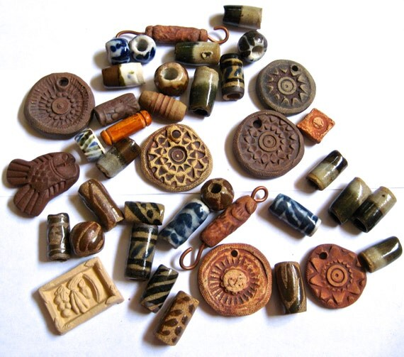 Take 20% Off 40 PLUS Hand Made Ceramic Tube Beads & Stamped Pendants