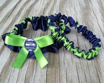 Seattle Seahawks Bridal Satin Wedding Garter Navy Blue & Green Keepsake Or Garter SET