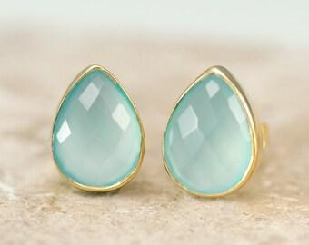 Aqua Blue Chalcedony Stud Earrings - Gemstone Studs - Tear Drop Studs - Gold Stud Earrings - Post Earrings