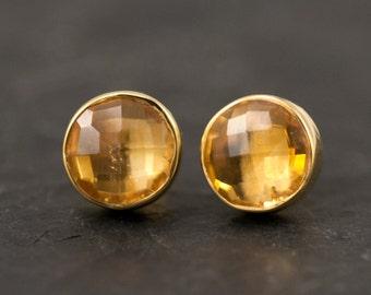 Citrine Stud Earrings - November Birthstone Studs - Gemstone Studs - Round Studs - Gold Stud Earrings - Post Earrings